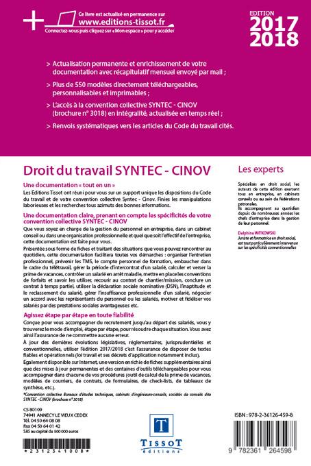 Notice Bibliographique Droit Du Travail Syntec Cinov Bureaux D