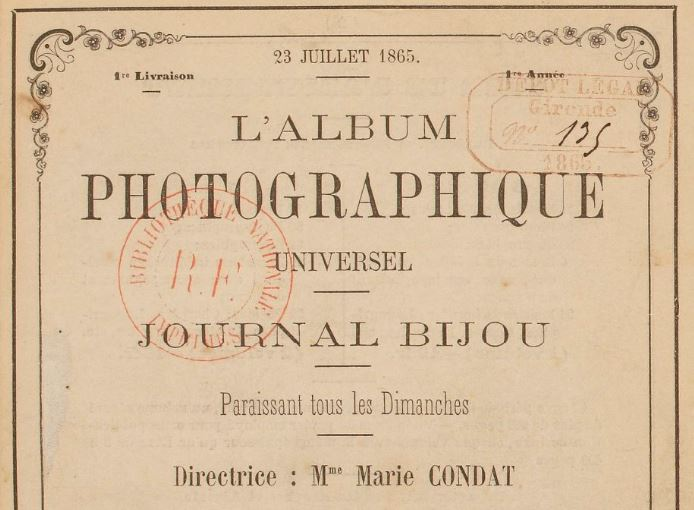 Photo (BnF / Gallica) de : L'Album photographique universel. Bordeaux, 1865-1866. ISSN 2120-5515.