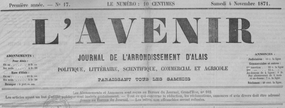 Photo (BnF / Gallica) de : L'Avenir. Alais, 1871-[1873 ?]. ISSN 2121-2953.