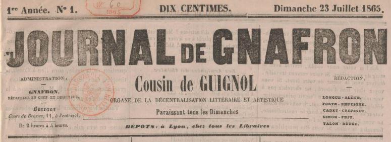 Photo (BnF / Gallica) de : Journal de Gnafron, cousin de Guignol. Lyon, 1865-1873. ISSN 2130-3681.