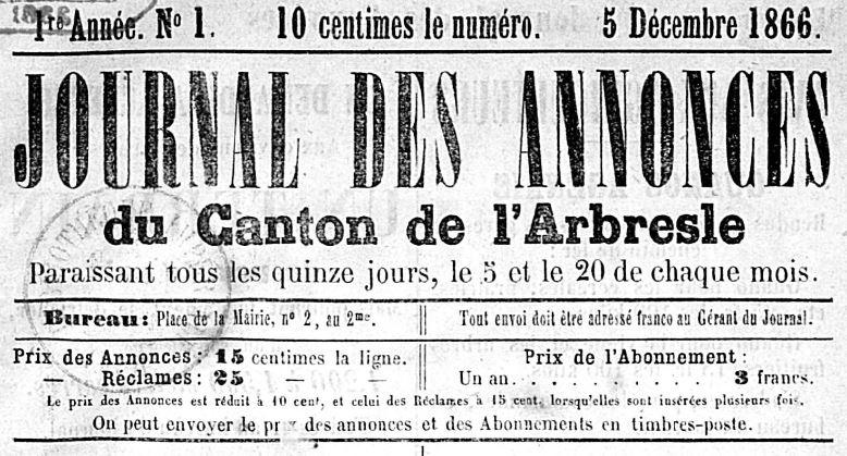 Photo (BnF / Gallica) de : Journal des annonces du canton de l'Arbresle. [S.l.], 1866-[186.]. ISSN 2130-7008.