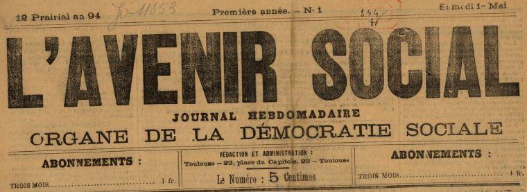 Photo (BnF / Gallica) de : L'Avenir social. Toulouse, 1886. ISSN 2121-6983.