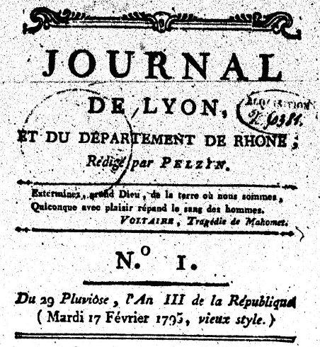 Photo (BnF / Gallica) de : Journal de Lyon et du département de Rhône. Lyon, 1795-1797. ISSN 2130-503X.