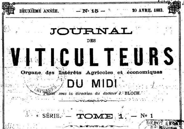 Photo (BnF / Gallica) de : Journal des viticulteurs. Toulouse, 1881-1888. ISSN 2017-3598.
