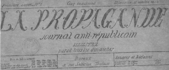 Photo (BnF / Gallica) de : La Propagande. Toulouse, 1882-1884. ISSN 2135-5746.