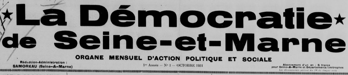 Photo (BnF / Gallica) de : La Démocratie de Seine-et-Marne. Samoreau, 1931-1938. ISSN 2125-6713.