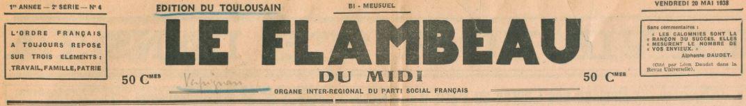 Photo (BnF / Gallica) de : Le Flambeau du Midi. Éd. du Toulousain. Perpignan, [1938 ?-1939 ?]. ISSN 2128-0819.