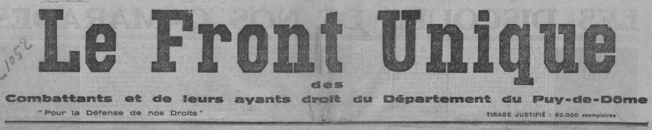 Photo (BnF / Gallica) de : Le Front unique des combattants et de leurs ayants droit du département du Puy-de-Dôme. [S.l.], 1932. ISSN 2128-3915.