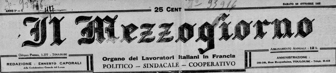 Photo (BnF / Gallica) de : Il Mezzogiorno. Toulouse, 1925-[1927 ?]. ISSN 2132-1914.