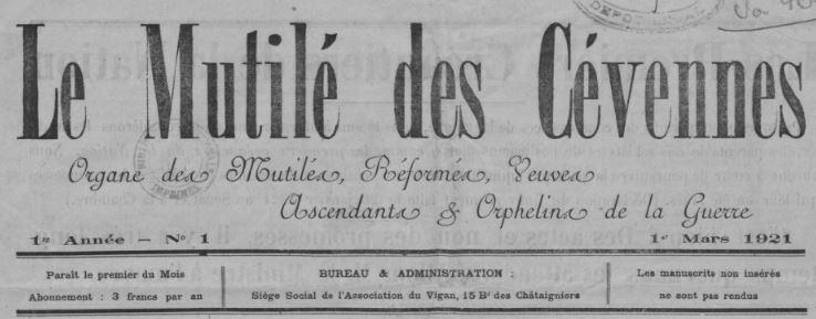 Photo (BnF / Gallica) de : Le Mutilé des Cévennes. Le Vigan, 1921-[1922 ?]. ISSN 2132-6789.