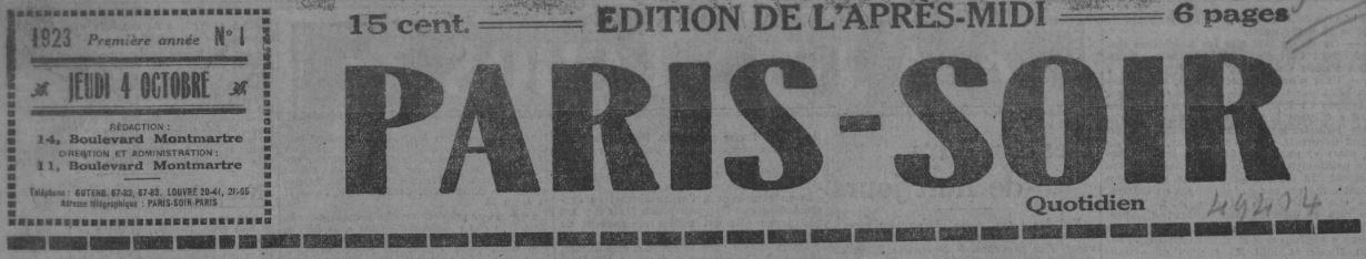 Photo (BnF / Gallica) de : Paris-soir. Paris, 1923-1944. ISSN 1256-0421.