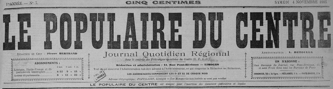 Photo (Bibliothèque francophone multimédia (Limoges)) de : Le Populaire du Centre. Limoges, 1905-1941. ISSN 1144-424X.