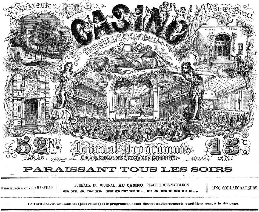 Photo (BnF / Gallica) de : Le Casino toulousain. Toulouse, 1870-[1877 ?]. ISSN 2123-5155.
