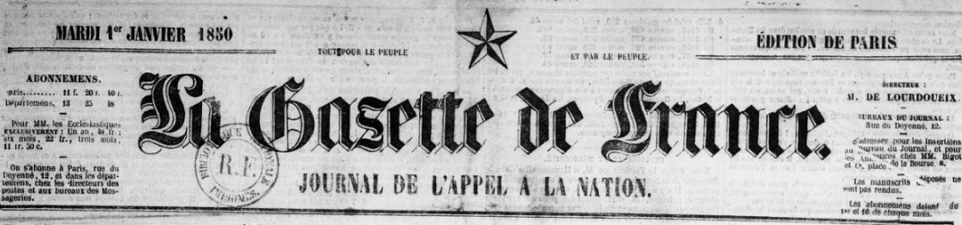 Photo (BnF / Gallica) de : La Gazette de France. Paris, 1848-1915. ISSN 1958-6779.
