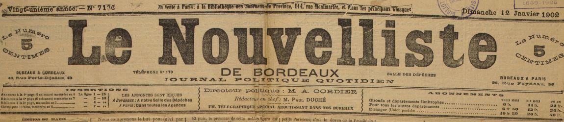 Photo (Université Bordeaux Montaigne) de : Le Nouvelliste de Bordeaux. Bordeaux, 1882-[1937 ?]. ISSN 2133-1480.
