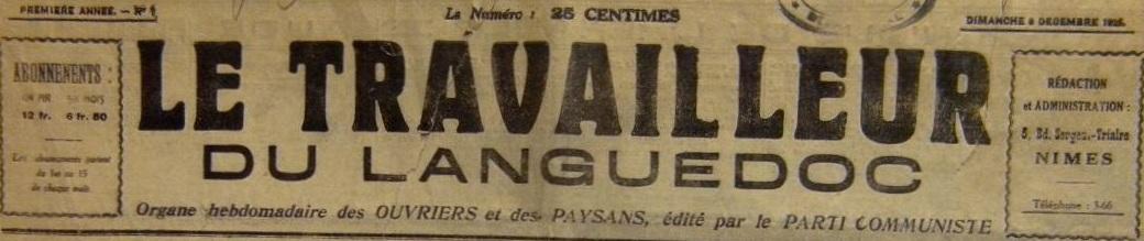 Photo (BnF / Gallica) de : Le Travailleur du Languedoc. Nîmes, 1925-1974. ISSN 0336-7649.
