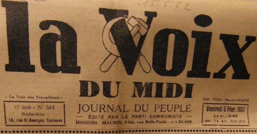 Photo (BnF / Gallica) de : La Voix du Midi. Toulouse: Parti communiste, 1937-1946. ISSN 1149-1779.
