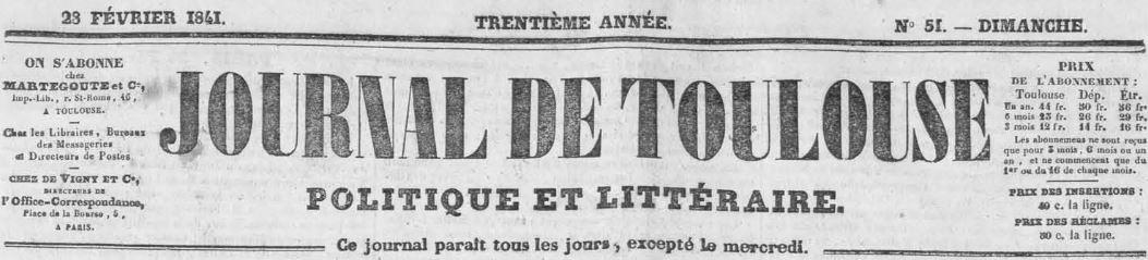 Photo (Bibliothèque de Toulouse) de : Journal de Toulouse. Toulouse, 1841-1944. ISSN 1261-5757.