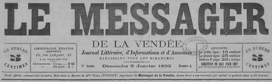 Le messager de la vend e la roche sur yon 1892 1944 for Cash piscine la roche sur yon catalogue