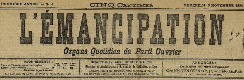 Photo (BnF / Gallica) de : L'Émancipation. Lyon, 1880. ISSN 1245-9909.