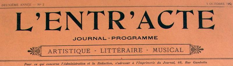 Photo (Société des amis de Panckoucke) de : L'Entr'acte. Arras, 1923-[1926 ?]. ISSN 2127-3200.