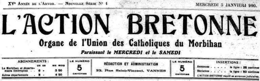 Photo (Morbihan. Archives départementales) de : L'Action bretonne. Vannes, 1910-1914. ISSN 2120-0890.