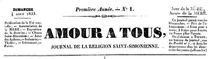 Photo (BnF / Gallica) de : Amour à tous. Toulon, 1833. ISSN 2106-1777.