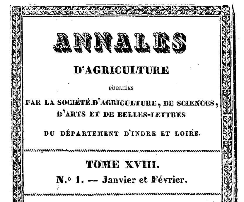 Photo (BnF / Gallica) de : Annales de la Société d'agriculture, sciences, arts et belles-lettres d'Indre-et-Loire. Tours, 1821-[1936 ?]. ISSN 2022-0960.