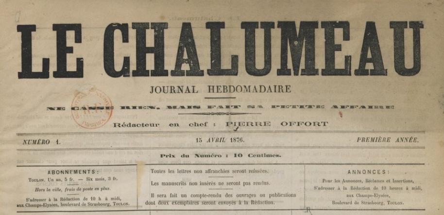 Photo (BnF / Gallica) de : Le Chalumeau. Toulon, 1876. ISSN 2123-6097.