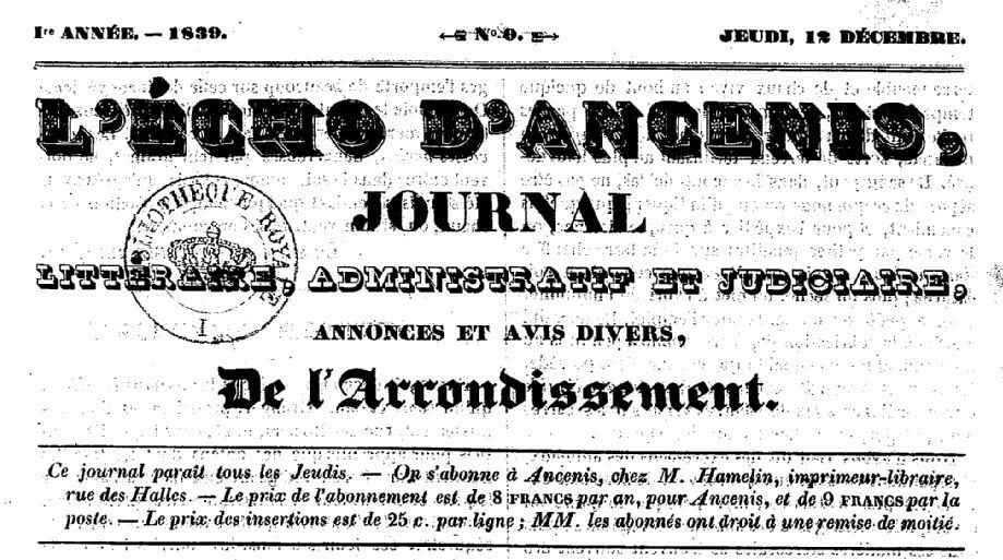 Photo (BnF / Gallica) de : L'Écho d'Ancenis. Ancenis, 1839-2000. ISSN 2126-0974.