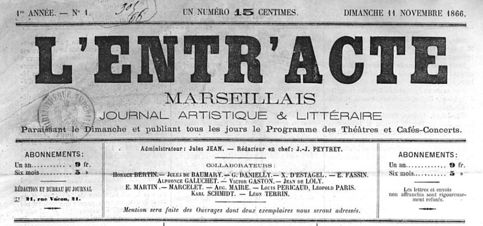 Photo (BnF / Gallica) de : L'Entr'acte marseillais. Marseille, 1866-[1867 ?]. ISSN 2127-3340.