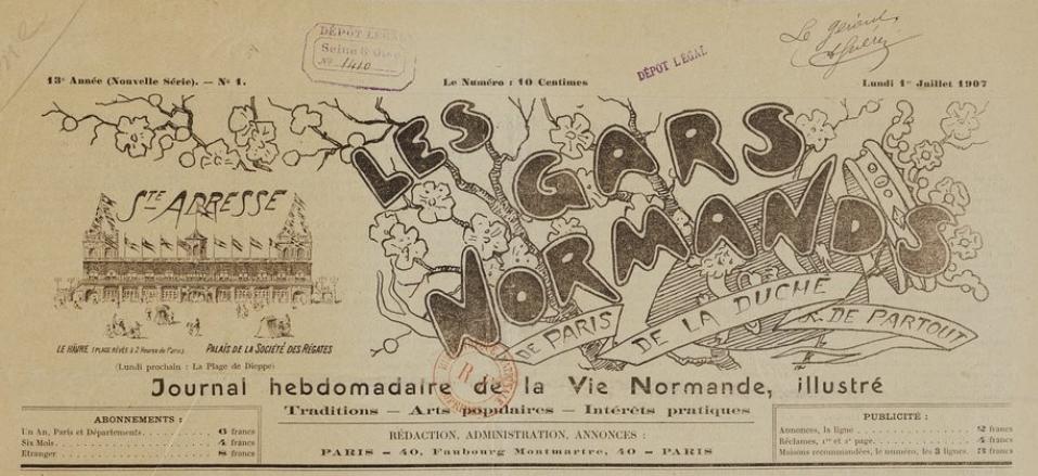 Photo (BnF / Gallica) de : Les Gars normands de Paris, de la Duché & de partout. Paris, [1907 ?]. ISSN 2128-4865.