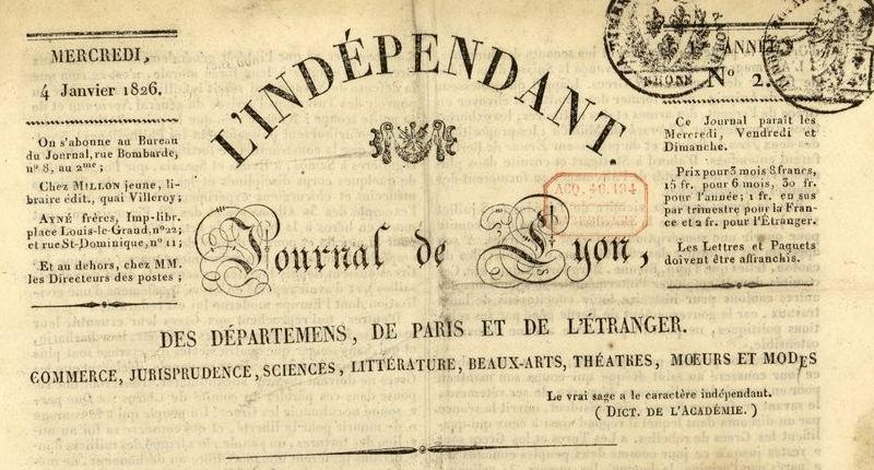 Photo (BnF / Gallica) de : L'Indépendant. Lyon: au bureau du journal, 1826-1827. ISSN 2129-4240.