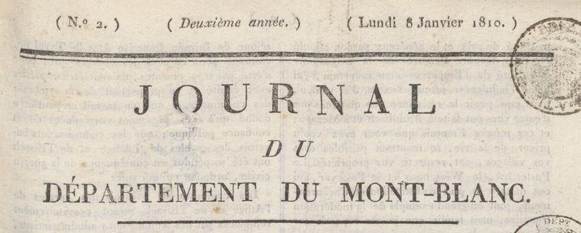 Photo (BnF / Gallica) de : Journal du département du Mont-Blanc. [Chambéry], 1809-1815. ISSN 2130-873X.