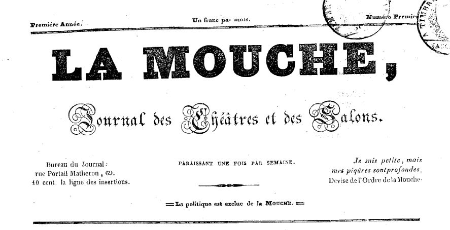 Photo (BnF / Gallica) de : La Mouche. Avignon, 1839. ISSN 2132-6088.