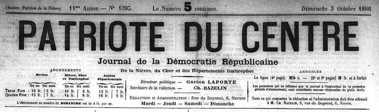 Photo (Nièvre. Archives départementales) de : Le Patriote du Centre. Nevers, 1886-1902. ISSN 1261-6028.