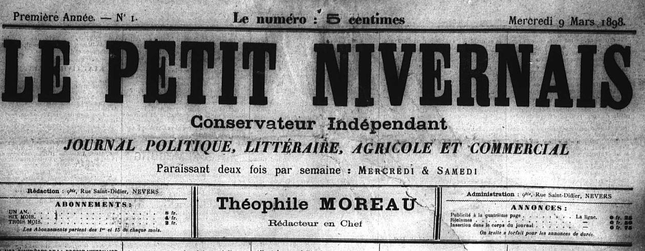 Photo (Nièvre. Archives départementales) de : Le Petit Nivernais. Nevers, 1898-[1902 ?]. ISSN 1261-6265.