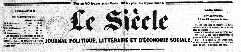 Photo (BnF / Gallica) de : Le Siècle. Paris: Le Siècle, 1836-[1932?]. ISSN 1257-5941.