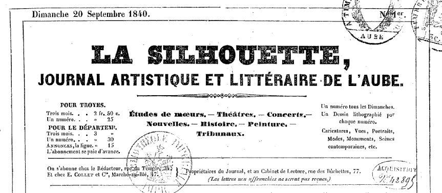 Photo (BnF / Gallica) de : La Silhouette. Troyes: Paul-Athanase Payn, 1840. ISSN 2264-1890.