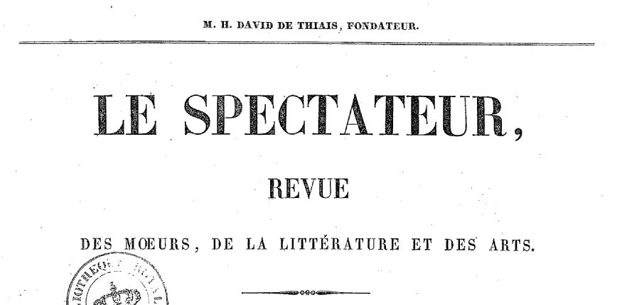 Photo (BnF / Gallica) de : Le Spectateur. Poitiers, 1839-1841. ISSN 2106-1785.