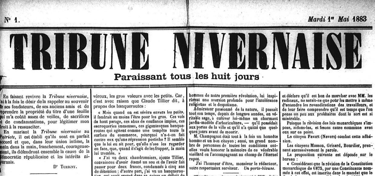Photo (Nièvre. Archives départementales) de : La Tribune nivernaise. Nevers, 1883-[1885?]. ISSN 1261-6036.