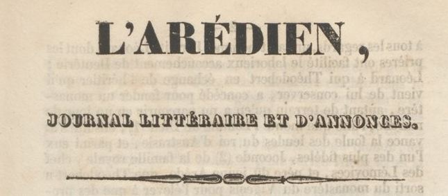 Photo (BnF / Gallica) de : L'Arédien. Saint-Yrieix-la-Perche: J.-E. Noyer, 1835-1837. ISSN 1967-9327.