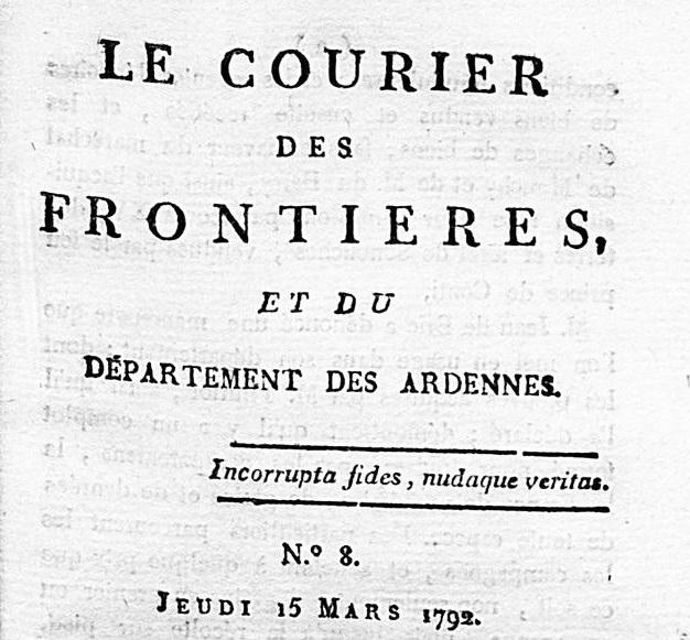 Photo (BnF / Gallica) de : Le Courier des frontières, et du département des Ardennes. [Paris]: au Cabinet littéraire, boulevard du Temple, près la rue Xaintonge, [1792]. ISSN 2103-2084.