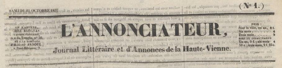 Photo (BnF / Gallica) de : L'Annonciateur. Limoges, 1837. ISSN 2108-0372.