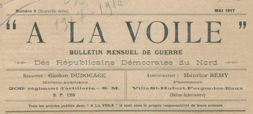 Photo (BnF / Gallica) de : À la voile. Forges-les-Eaux (Seine-Inférieure), 1917-[1918 ?]. ISSN 2120-022X.