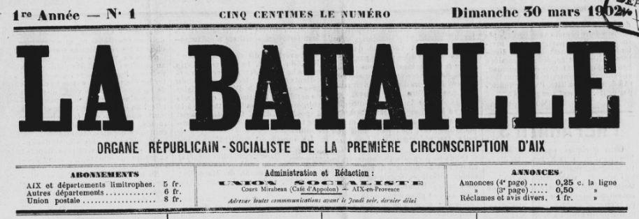 Photo (BnF / Gallica) de : La Bataille. Aix-en-Provence, 1902-[1908 ?]. ISSN 2121-8544.