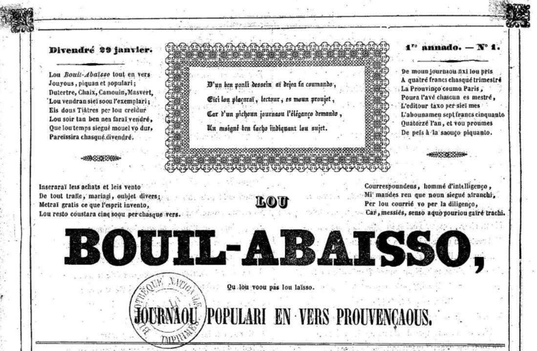 Photo (BnF / Gallica) de : Lou Bouil-abaïsso. Marseille, 1841-1846. ISSN 2016-1603.