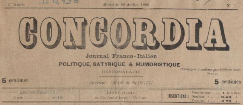 Photo (BnF / Gallica) de : Concordia. Marseille, 1899-[1903 ?]. ISSN 2124-3190.