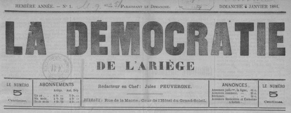 Photo (BnF / Gallica) de : La Démocratie de l'Ariège. Pamiers, 1884-1890. ISSN 2125-6551.