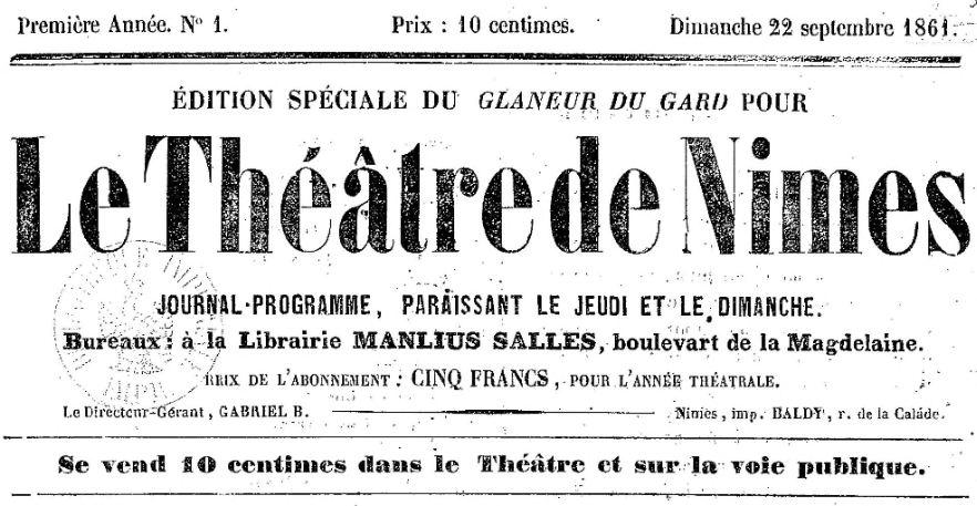 Photo (BnF / Gallica) de : Édition spéciale du Glaneur du Gard pour le Théâtre de Nîmes. Nîmes, 1861-1862. ISSN 2127-0783.
